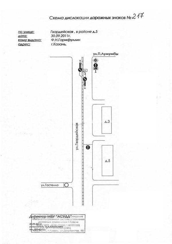 Схема дислокации дородных знаков на Гвардеиской