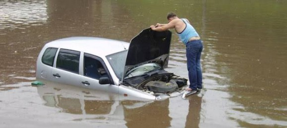 Затопленные дороги Казани