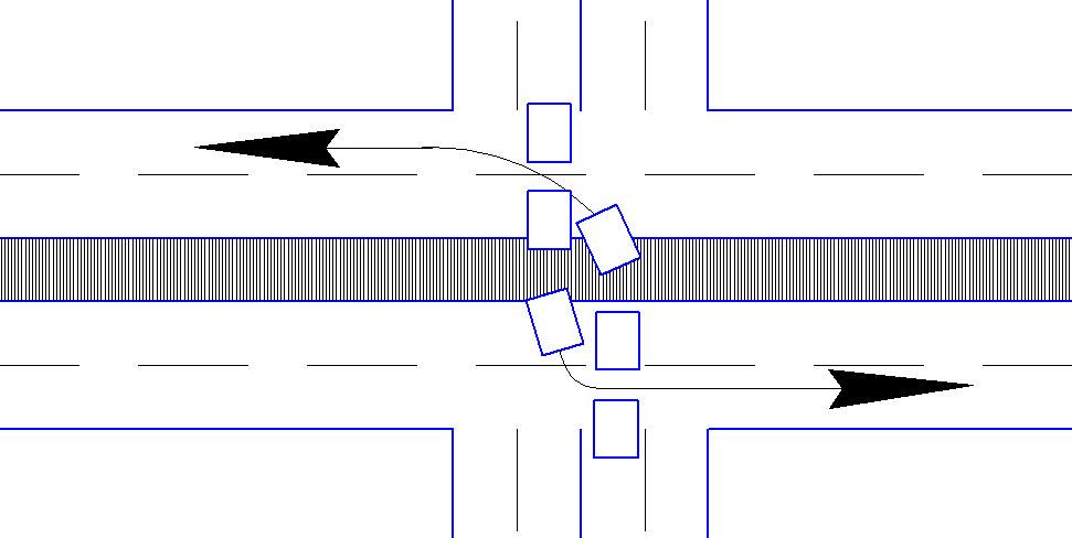 Поворот налево на перекрестке.