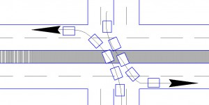 Поворот налево на перекрестке. Схема 2.